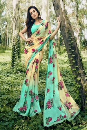 turquoise & Cream Chiffon Saree with Blouse
