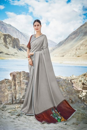 Grey Shahi chiffon Saree with Blouse