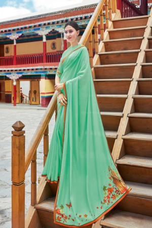 Pista Shahi chiffon Saree with Blouse