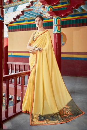 Yellow Shahi chiffon Saree with Blouse