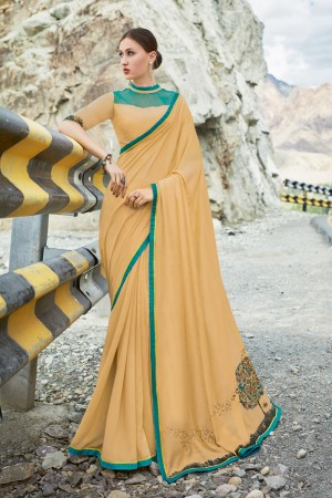 Cream Shahi chiffon Saree with Blouse