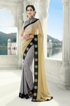 Grey & Cream Georgette Saree with Blouse