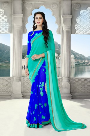 Blue & Firozi Georgette Saree with Blouse