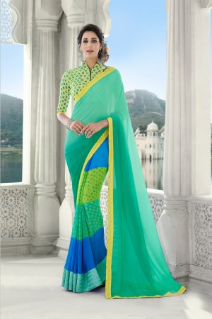 Turquoise Georgette Saree with Blouse