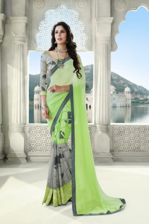 Liril & Light Grey Georgette Saree with Blouse