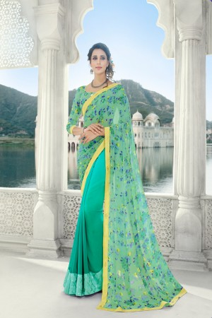 Firozi Georgette Saree with Blouse