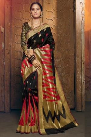 Black Silk Saree with Blouse