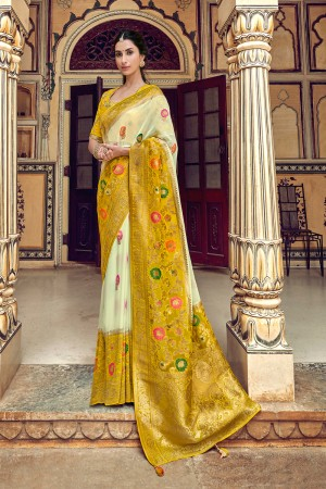 OffWhite Banarasi Silk Saree with Blouse