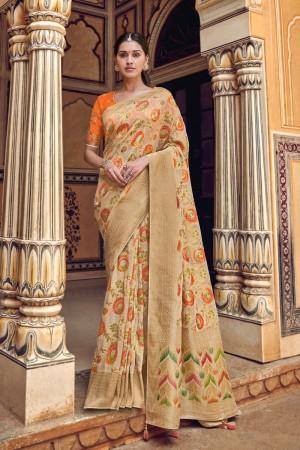 Chiku Banarasi Silk Saree with Blouse