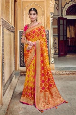 Yellow&Orange Banarasi Silk Saree with Blouse