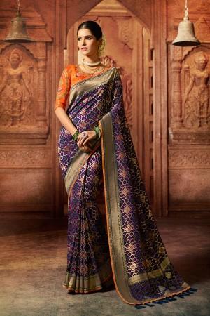 Purple Silk Saree with Blouse