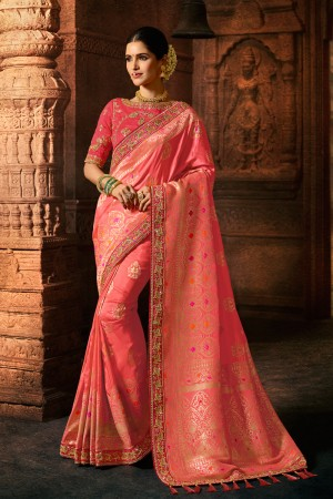 Peach Silk Saree with Blouse