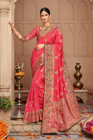 Hot Pink Silk Saree with Blouse