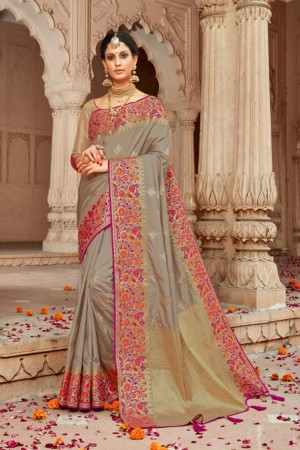 Slate Grey Silk Saree with Blouse