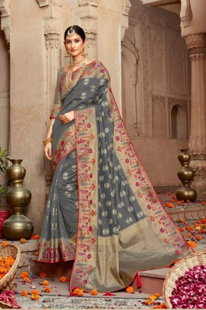 Grey Silk Saree with Blouse