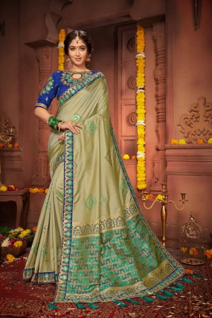 Olive Green Silk Saree with Blouse
