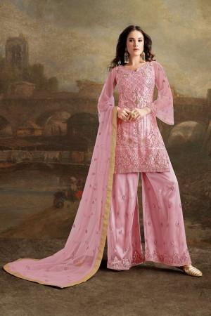 Baby Pink Net Plazzo Suit