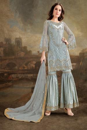 Light Sky Blue Net Sharara Suit