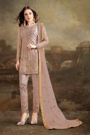 Light Brown Net Churidar Suit