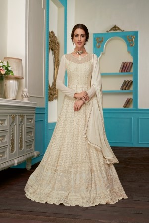 Off White Real Georgette Anarkali Suit