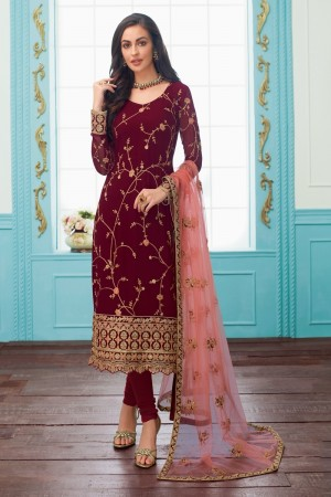 Maroon Real Georgette Churidar Suit
