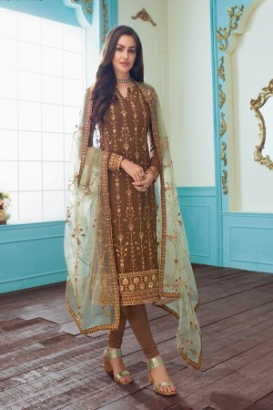 Light Brown Real Georgette Churidar Suit