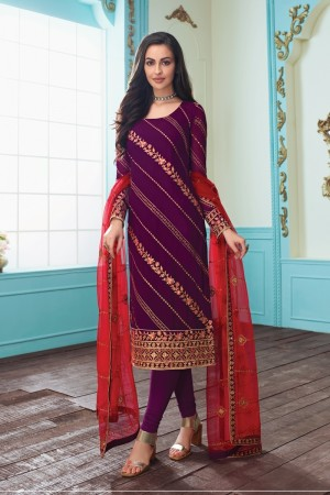 Wine Real Georgette Churidar Suit
