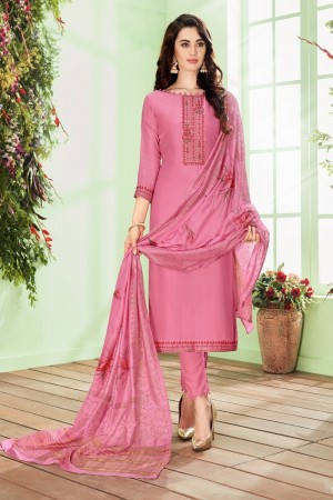 Light Pink Cotton Silk Salwar Kameez