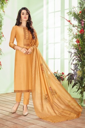Mustard Cotton Silk Salwar Kameez