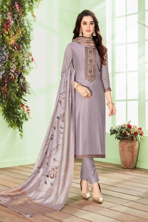 Light Purple Cotton Silk Salwar Kameez