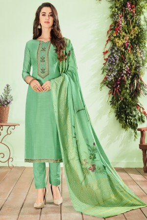 Light Green Cotton Silk Salwar Kameez