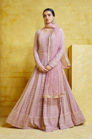 Light Purple Georgette Anarkali Suit