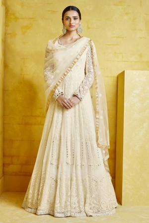 Off-White Georgette Anarkali Suit