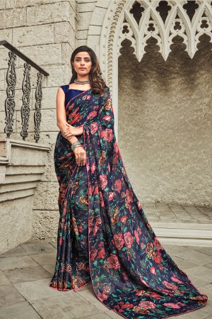 Navy Blue Satin Saree with Blouse