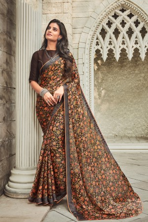 Brown Satin Saree with Blouse