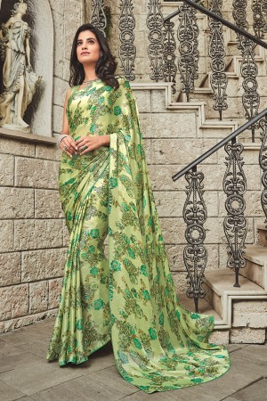 Pista Satin Saree with Blouse