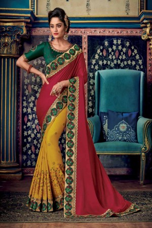 Maroon & Mustard Satin Georgette Saree with Blouse