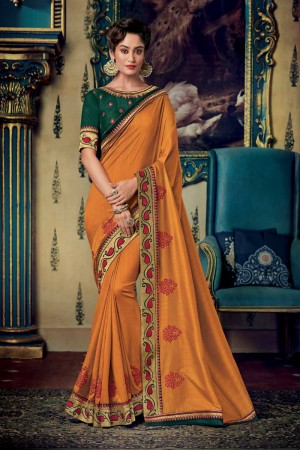 Orange Satin Georgette Saree with Blouse