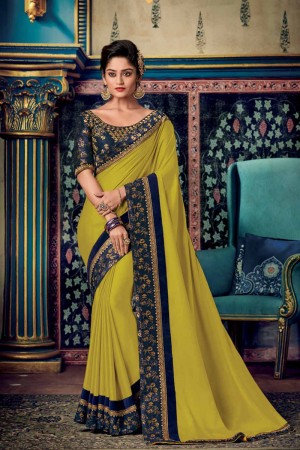 Lime Satin Georgette Saree with Blouse