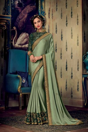Light Mehendi Satin Georgette Saree with Blouse