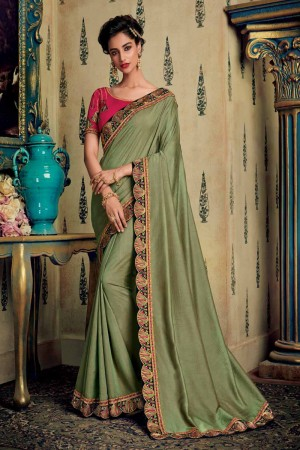 Olive Satin Georgette Saree with Blouse