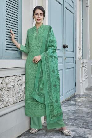 Green Georgette Plaazo Suit