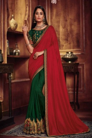 Red & Green Satin Georgette Saree with Blouse