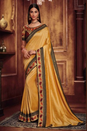 Cream Satin Georgette Saree with Blouse