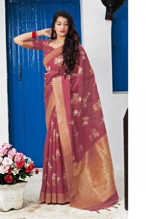 Light Maroon Banarasi Silk Saree with Blouse