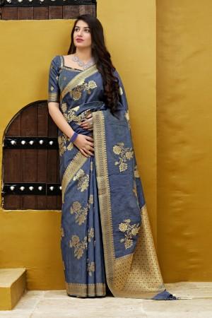 Light Blue Banarasi Silk Saree with Blouse