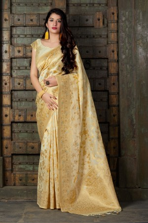 Off White Banarasi Silk Saree with Blouse