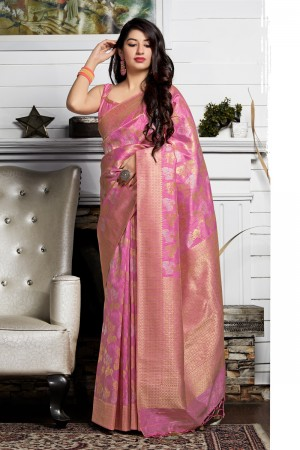 Baby Pink Banarasi Silk Saree with Blouse