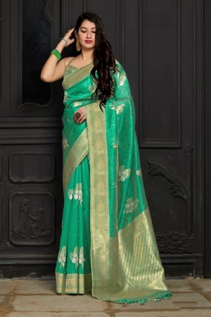 Light Green Banarasi Silk Saree with Blouse