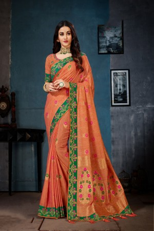 Orange Cotton Linen Saree with Blouse